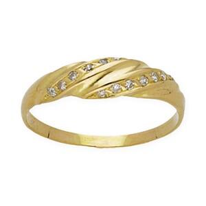 Sortija de oro amarillo con 14 Diamantes talla de brillante de 0,20 kts totales, talla del anillo 17 (ES) DSC10320-4