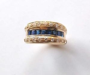 Sortija de zafiros y Diamantes en Oro 18k