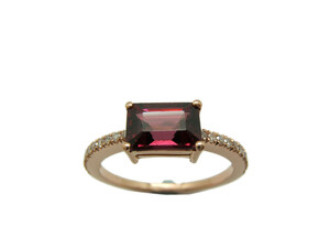 Sortija Oro rosa Rodolita y Diamantes A-416 B-79