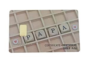 Tarjeta ORO regalo papa PIM
