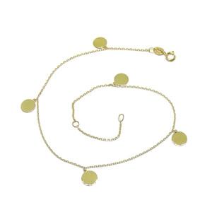 Tobillera de oro amarillo de 18k con cadena mini-forzada y 5 circulitos de 6mm Largo; 25cm Never say never