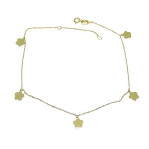 Tobillera de oro amarillo de 18k con cadena mini-forzada y 5 flores de 6mm Largo; 25cm Never say never