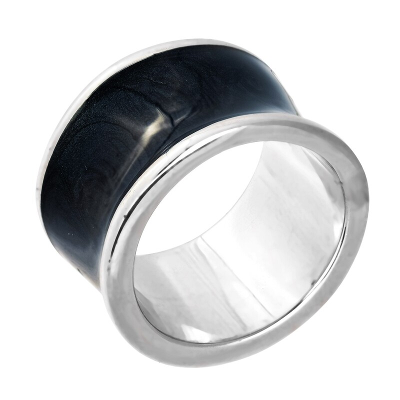 Abalorio anillo con superficie curva negra ónix 8435334801658 DEVOTA Y LOMBA Devota & Lomba