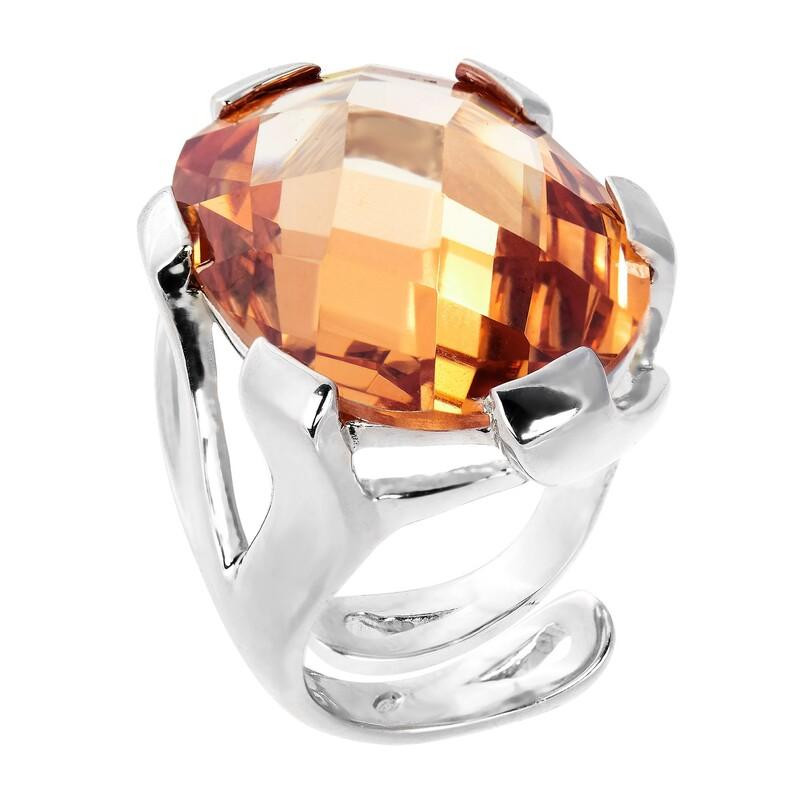Abalorio anillo de plata abierto sin talla con cristal naranja 8435334801580 DEVOTA Y LOMBA Devota & Lomba