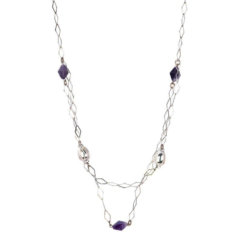 Abalorio collar cadena con cuarzos lilas 8435334801375 DEVOTA Y LOMBA Devota & Lomba