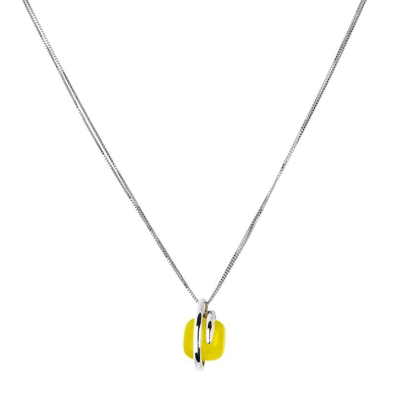 Abalorio collar colgante de plata con piedra ámbar blanco 8435334801993 DEVOTA Y LOMBA Devota & Lomba