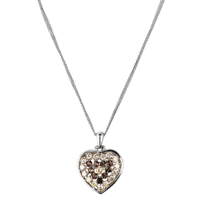 Abalorio collar colgante de plata corazón de circonio 8435334802037 DEVOTA Y LOMBA Devota & Lomba