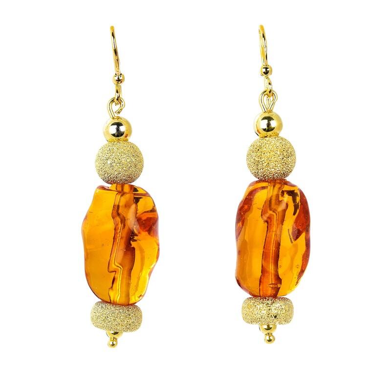 Abalorio pendientes colgantes dorados con piedras traslúcidas naranjas 8435334800859 DEVOTA Y LOMBA Devota & Lomba