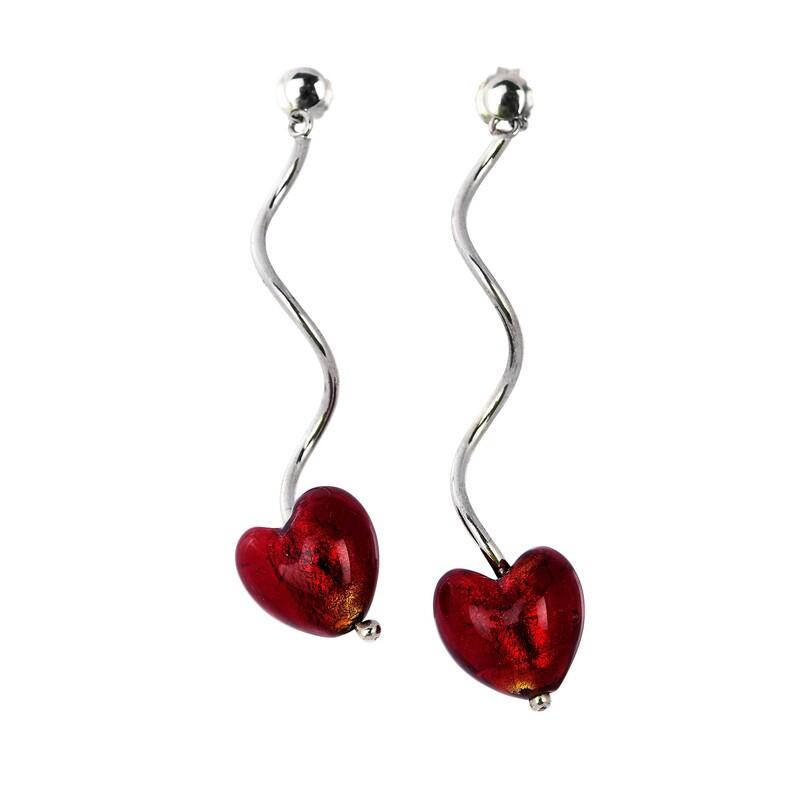 Abalorio pendientes con corazones rojos de piedras colgantes 8435334800965 DEVOTA Y LOMBA Devota & Lomba
