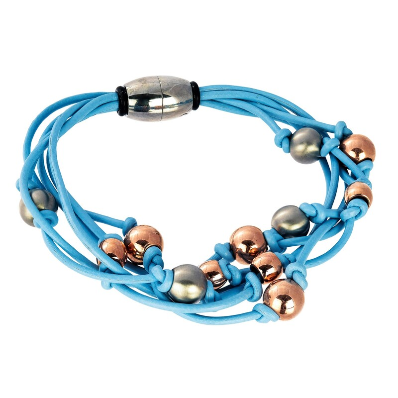 Abalorio pulsera azul imantada con bolas bañadas en oro rosa y plateadas 8435334801412 DEVOTA Y LOMBA Devota & Lomba