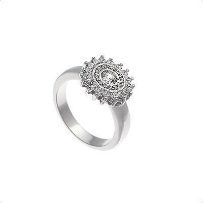 Anillo de Oro blanco 18 kt con motivo roseta  0,70 cts Diamantes, Cresber