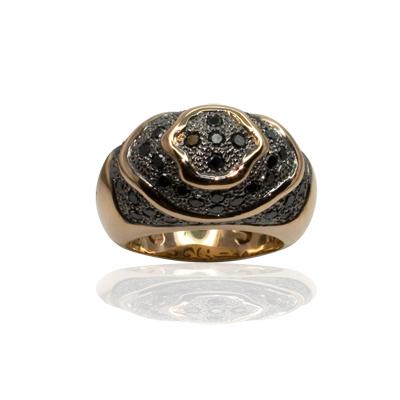 Anillo de Oro rosa 18 kt con  1,20 cts Diamantes negros, Cresber