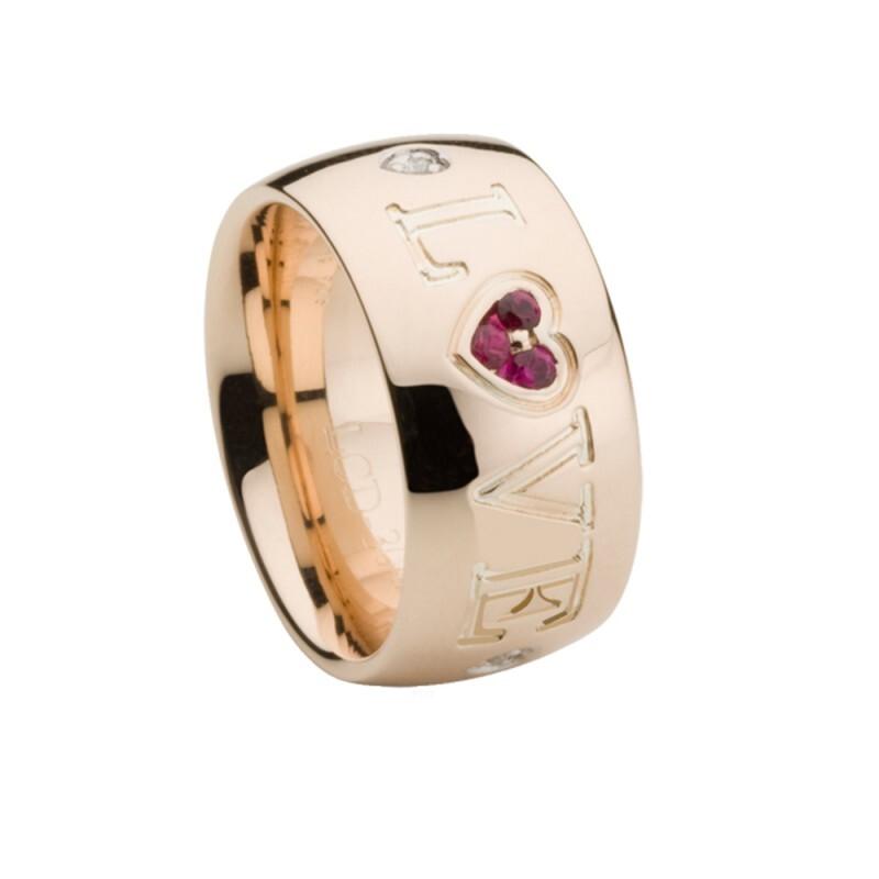 Anillo de oro rosa, rodolita y diamantes. LCD-3042/47 Oreage