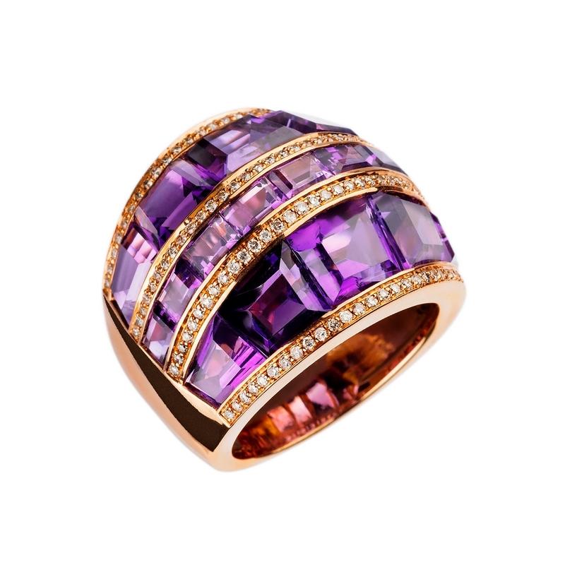 AnilloAnillo Oreage,Oro Rosa Vermeil,Amatista Diamantes , JR-1128/5