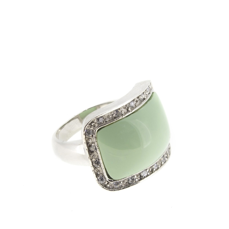 Anillo plata piedra verde circonitas 15S48 Stradda
