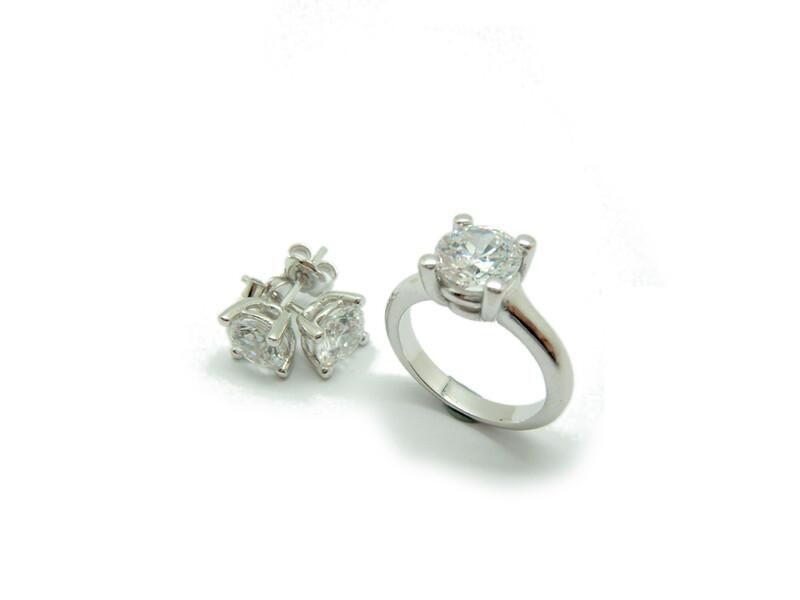 Combinado Juego de anillo y pendientes plata JOC-102 B-79