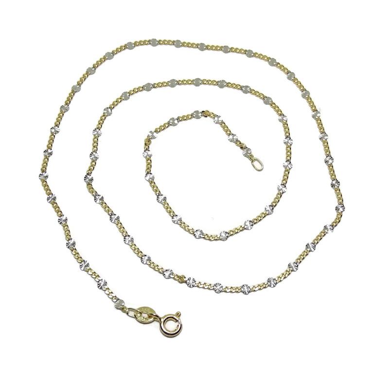 ac5f53dc1e02 Cadena de oro amarillo y oro blanco de 18Ktes. 45cm Never say never. Cargando  zoom