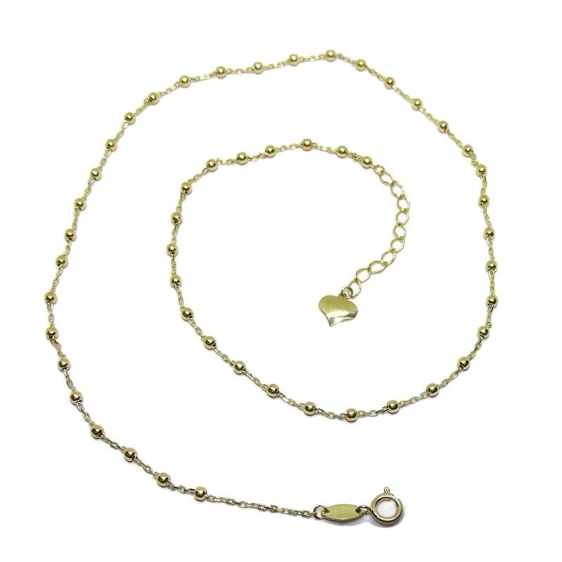 61f8ef44f74c Cadena para Mujer de Oro Amarillo de 18k con Cadena Forzada y Bolas de Oro  Brillo. Cargando zoom
