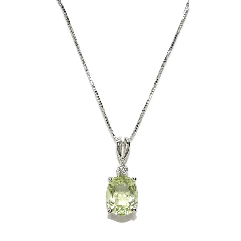 Colgante con un Diamante de 0.02cts y una Amatista Verde de 1.95cts en Oro Blanco de 18k con Cadena  Never say never