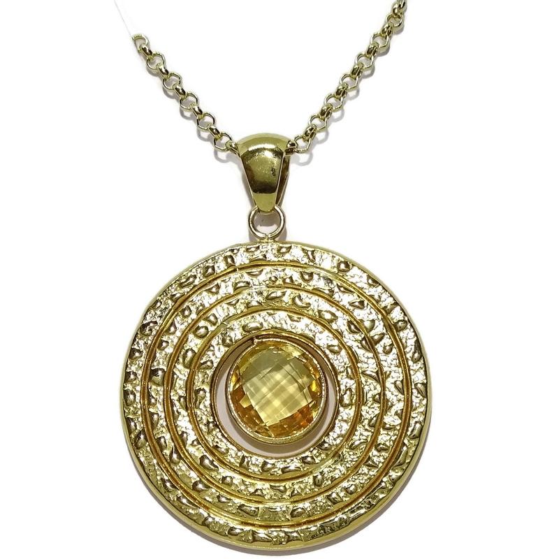 Colgante de Oro Amarillo de 18k de 3.80cm de diámetro con Piedra de Color Never say never