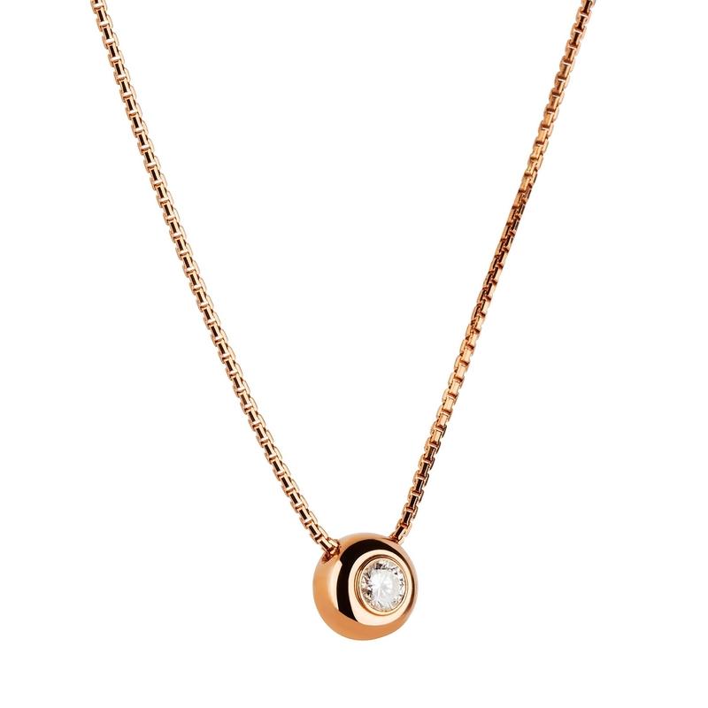 Colgante de oro rosa con diamante. CNP-0333/12 Oreage