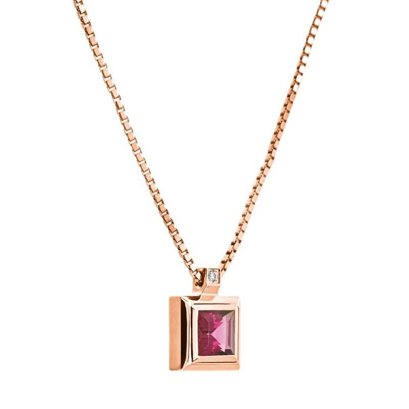 Colgante de oro rosa con rodolita y diamante. CNP-0124/20 Oreage