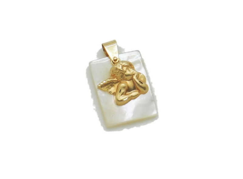 colgante oro angel de la guarda con madreperla