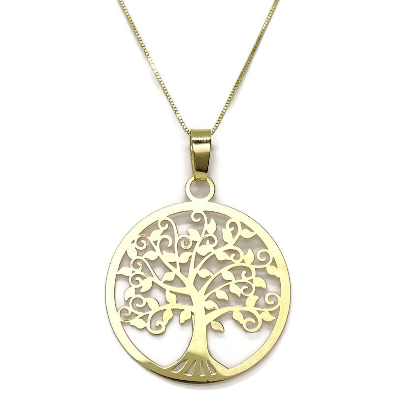 3c9c55252153 Collar Árbol de la Vida de Oro Amarillo de 18k y Cadena Veneciana de Oro  Amarillo