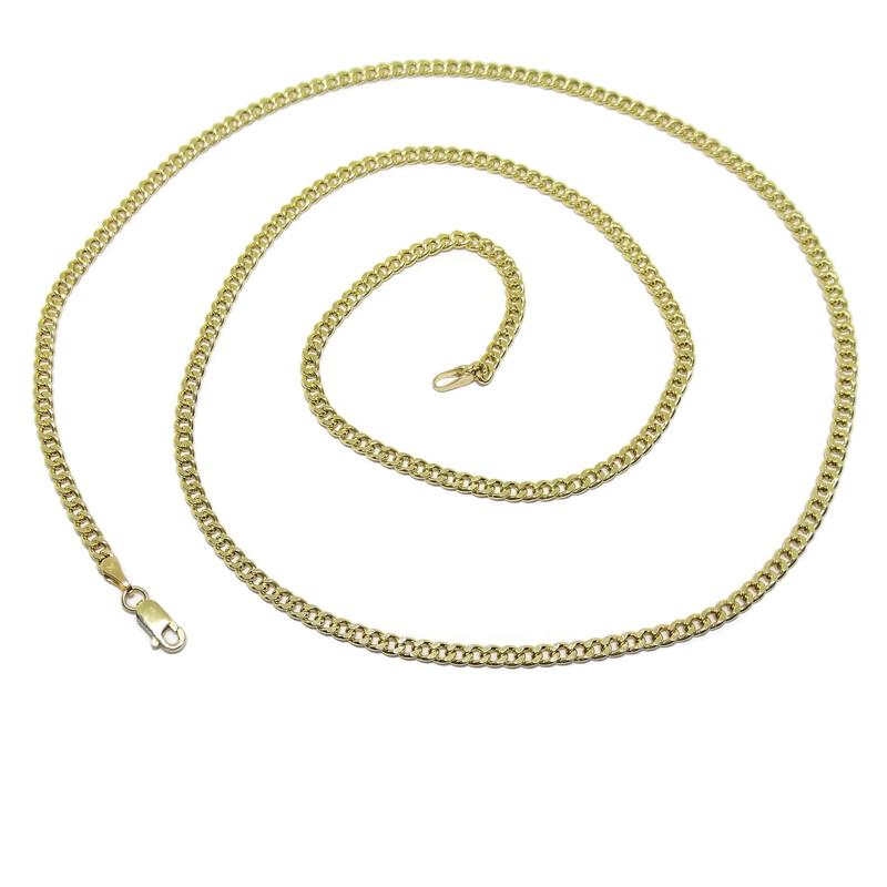 Collar Cadena de Oro Amarillo de 18k para Hombre Tipo barbada de 3mm de Ancha y 60cm de Larga Never say never