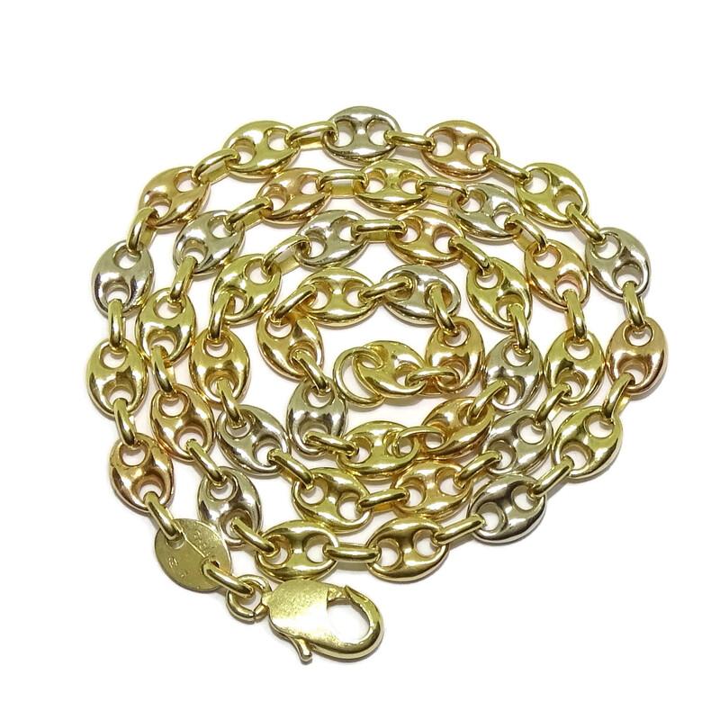 Collar Impresionante cadena de calabrote de oro amarillo, oro rosa, y oro blanco de 18k maciza Never say never