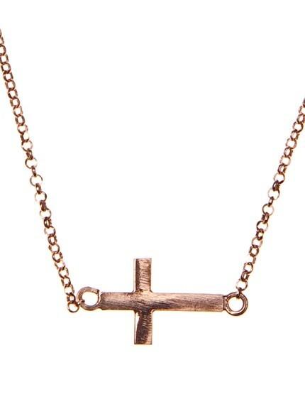 Collar Cruz pink silver 8435402103530 Lua Blanca