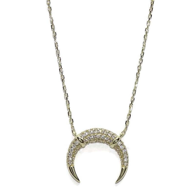 Collar Cuerno Media Luna de Oro con circonitas y Cadena Forzada de 45cm Todo en Oro de 9 Quilates Never say never