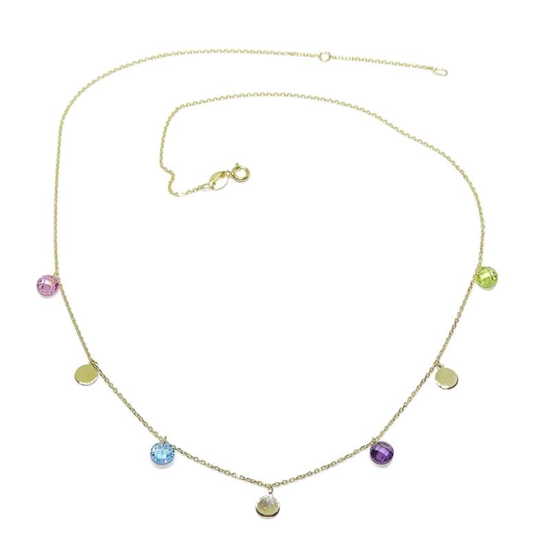 Collar de Oro Amarillo de 18k con 3 círculos de Oro de 5mm y 4 circonitas de Color con Cadena Mini Never say never