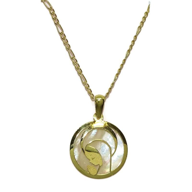 Collar de oro amarillo de 18Ktes con medalla de la Virgen Niña de oro y nácar.18mm 45cm Never say never
