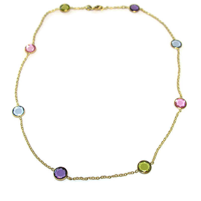 Collar de oro amarillo de 18Ktes y circonitas de color. 40cm Never say never
