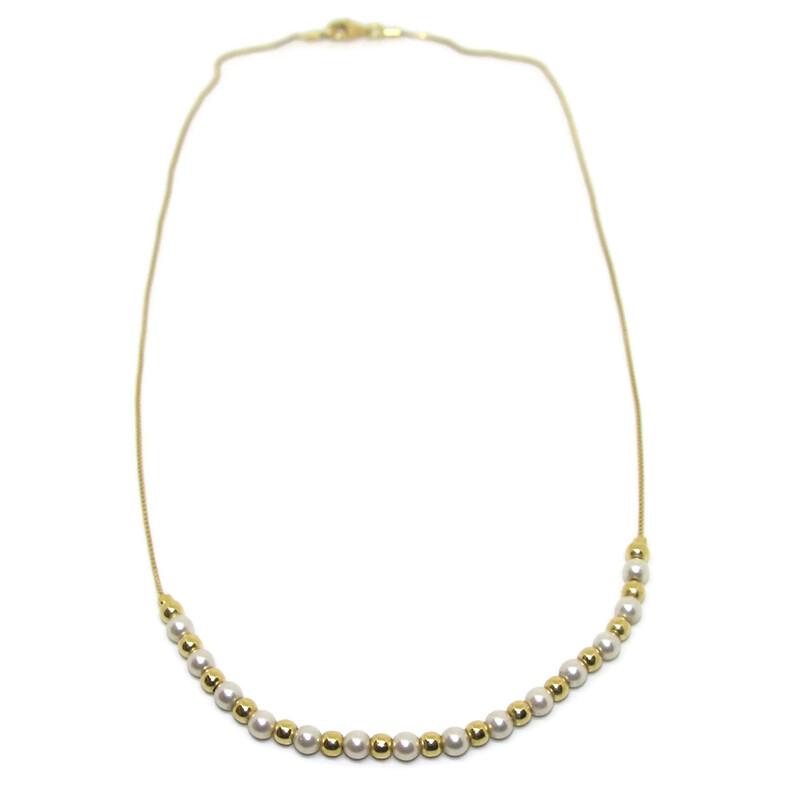 545235a014eb Collar de oro amarillo de 18ktes y perlas cultivadas de 4mm Never say never