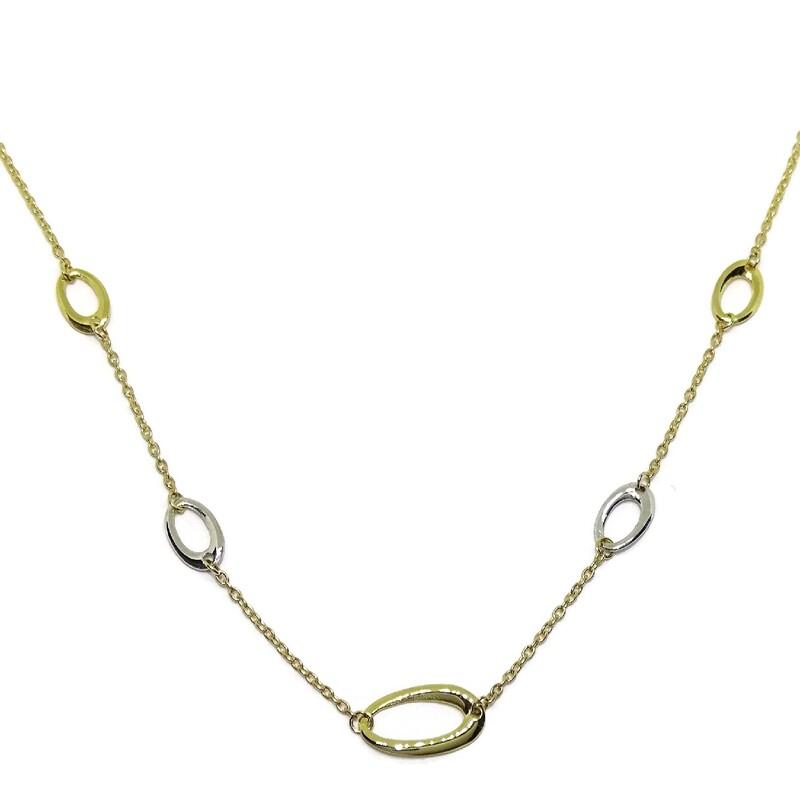 Collar de oro amarillo y oro blanco de 18Ktes .40cm Never say never