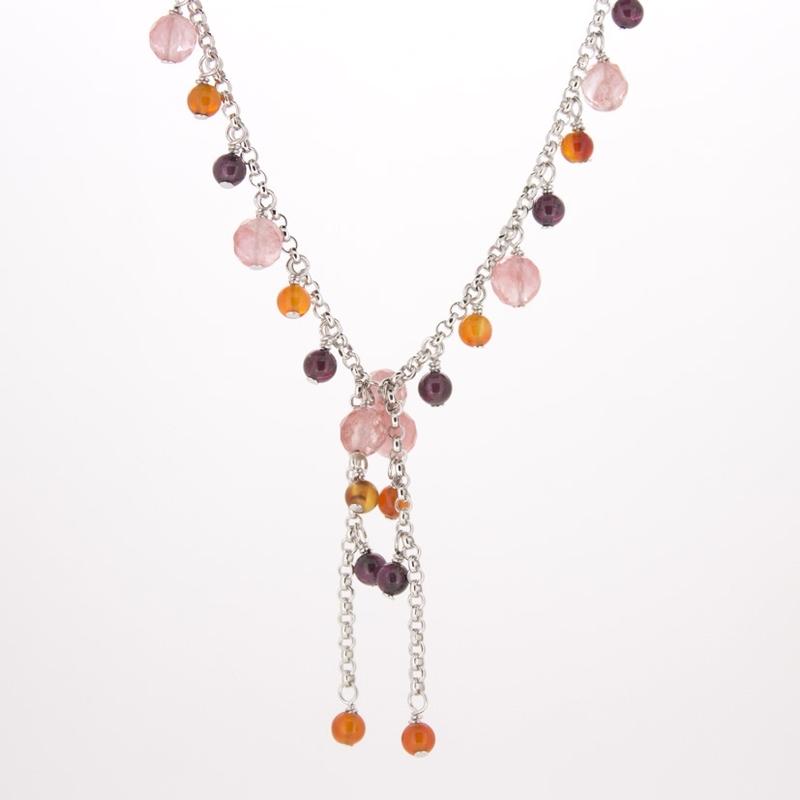 Collar de plata de 925 milésimas con piedras naturales todos rosados y  salmón 15H30 Stradda