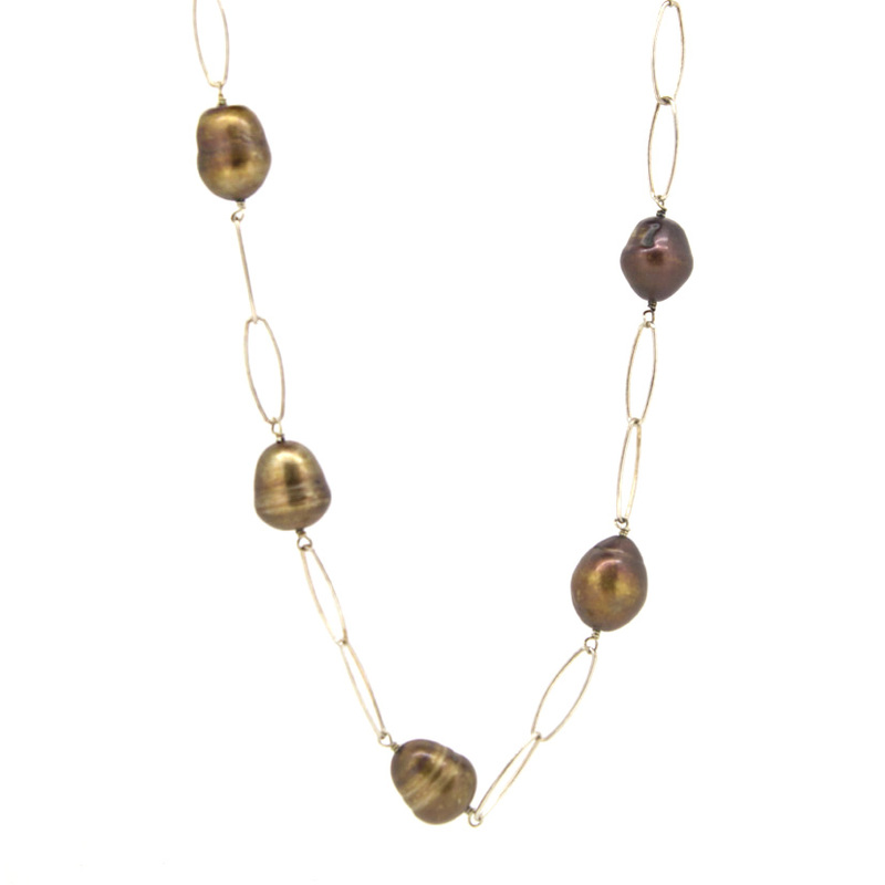 Collar largo plata chapada dorada y piedras  15SR-5 Stradda