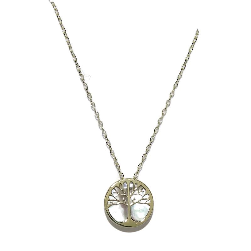 Collar Oro Amarillo de 18k y nácar con árbol de la Vida y Cadena Mini Forzada de 45cm Never say never