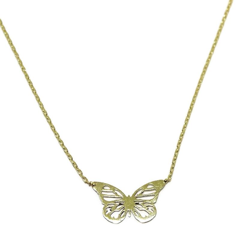 e667ef0fc32d Collar de oro amarillo de 18ktes con mariposa calada. 45cm Colección  enamorados! Never say. Cargando zoom