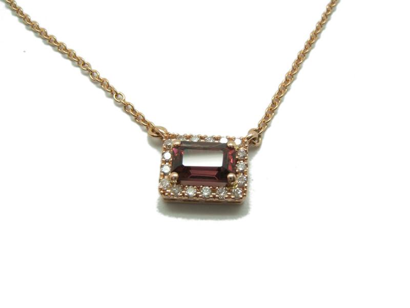Collar Oro rosa Rodolita y diamantes C-181 Rodolita B-79