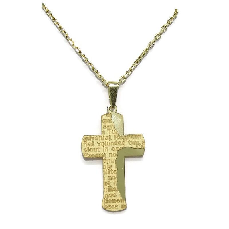 9e67c4d331f3 Cruz y cadena todo de oro amarillo de 18Ktes con oración del Padre Nuestro.  50cm