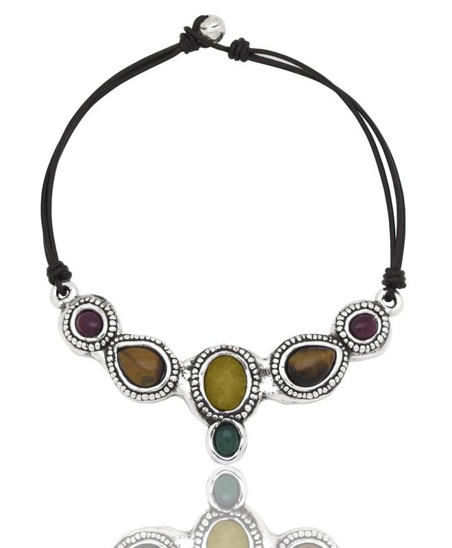 Collar Gargantilla plata pura y piedras naturales PPC114