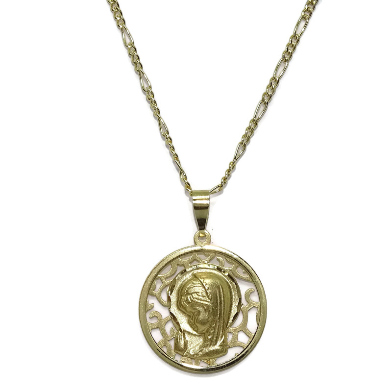 Medalla de Oro Amarillo de 18K Virgen Niña Calada de 18mm con Cadena Modelo 3x1 de 45cm Todo Oro 18k Never say never