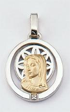 Medalla Oro 18k Plata y Brillante  300-2 Finor