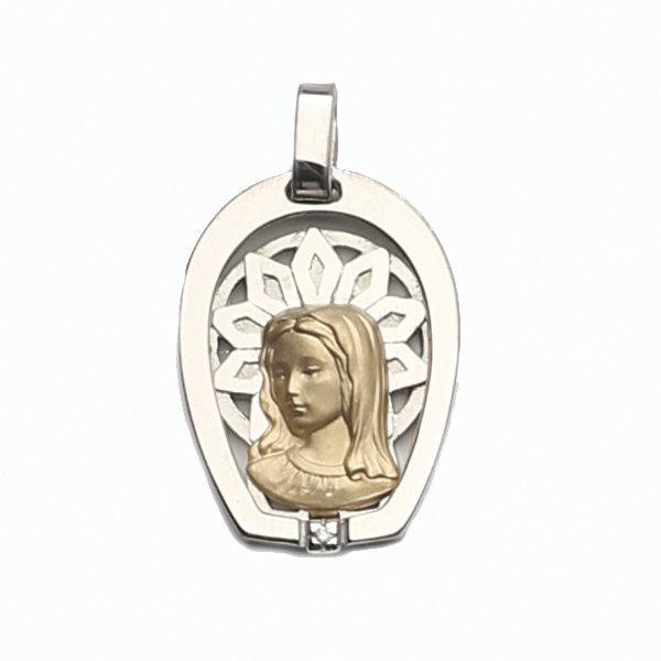 Medalla Oro 18k Plata y Brillante  304-2 Finor