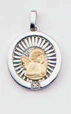 Medalla Oro 18k Plata y Brillante  300-1A Finor
