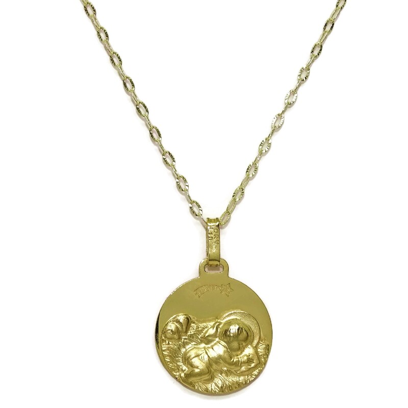 Medalla para bebé de oro amarillo de 18Ktes.14mm Never say never