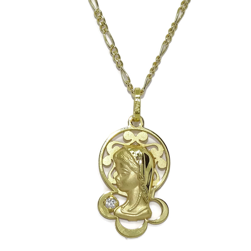 Medalla Virgen niña de Oro Amarillo de 18k Mate y Brillo con una circonita y Cadena de Oro de 18k  Never say never